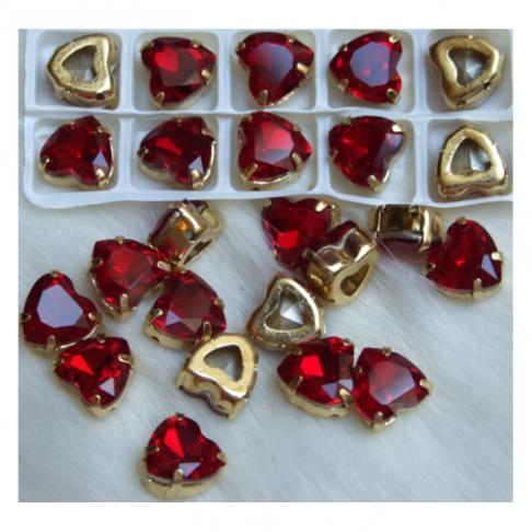 D-A30229   Intarpas-detalė, 10mm, kristalo, širdelė,  RAUDONA
