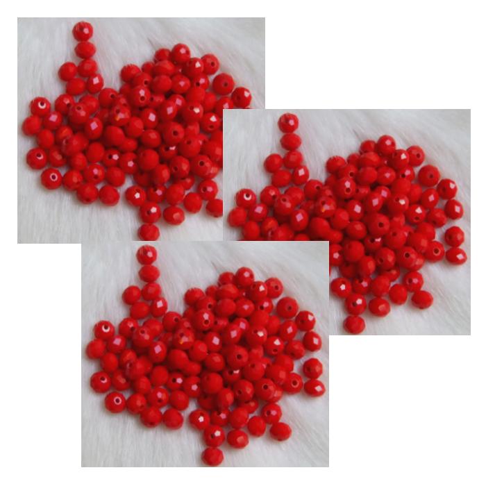 KR-65543 Kristalo karoliukas 6x5mm, raudonas