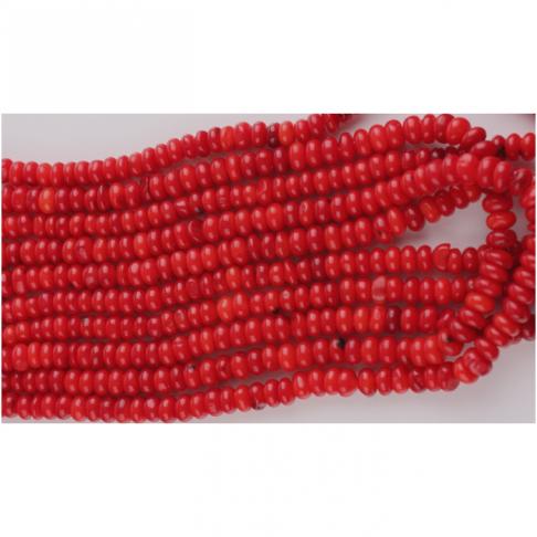 AK-KOR7757 Raudono koralo karoliukai, apie 5x4mm, už giją (apie 50)