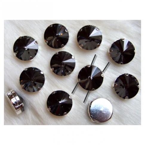 D-S18123   Intarpas-detalė, 14mm, kristalo , TAMSI DEIMANTO sp.