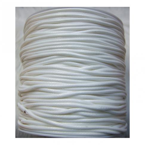 V-17326  Vaškuota virvutė, 2mm, BALTA , kaina už 50 cm
