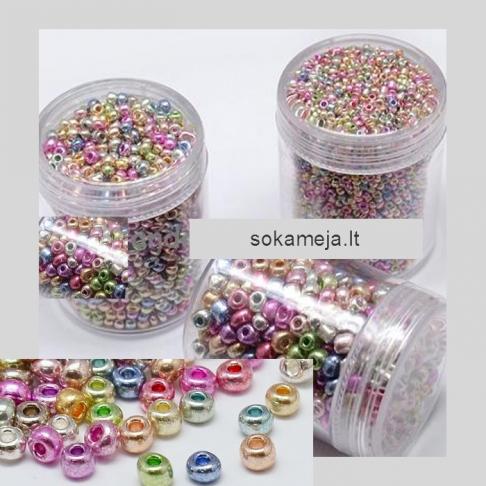 BIS-0088  Biseris (Electroplate) , dydis 8/0, 3.1mm,  MIX, kaina už 10 gr.