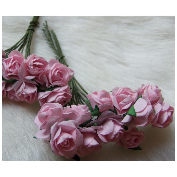 MR-R7S Mulberry popierinės gėlytės, 1-1.5 cm, 12 vnt.,ROŽINĖS