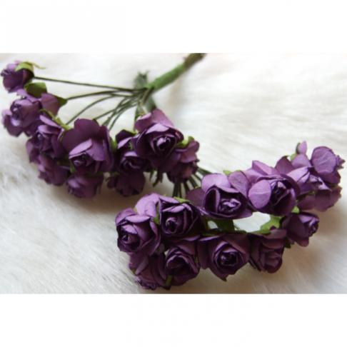 MR-R9S Mulberry popierinės gėlytės, 1-1.5 cm, 12 vnt., ALYVINĖS