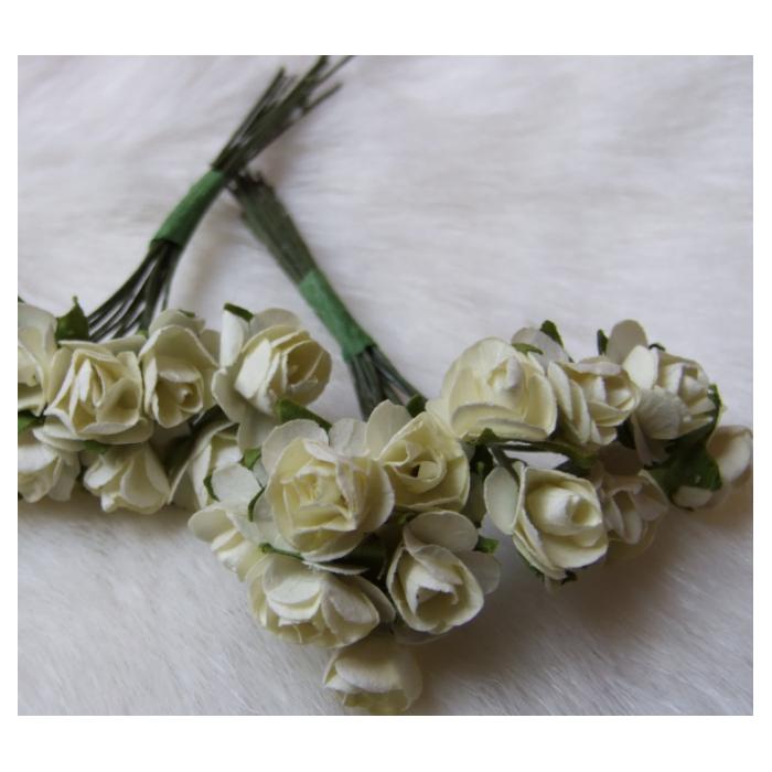 MR-R4S Mulberry popierinės gėlytės, 1-1.5 cm, 12 vnt., KREMINĖS