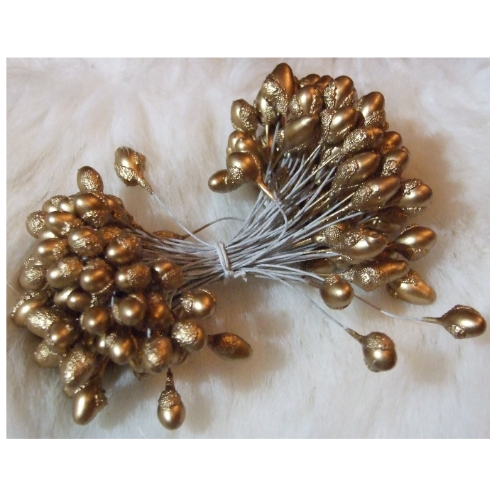 G-K5811  Gėlių kuokeliai, galvutė apie 6-10mm,  rudai-aukso sp.  už 1 giją