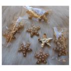 "PR-DE4058  Klijuojama detalė su perliukais, 19x17mm, ""Jūros žvaigždė"""