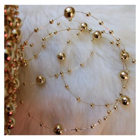 V-PR31 Perliukų, akriliniu, girlianda, 8mm perliukų plotis, Ilgis  1.50m, aukso sp.