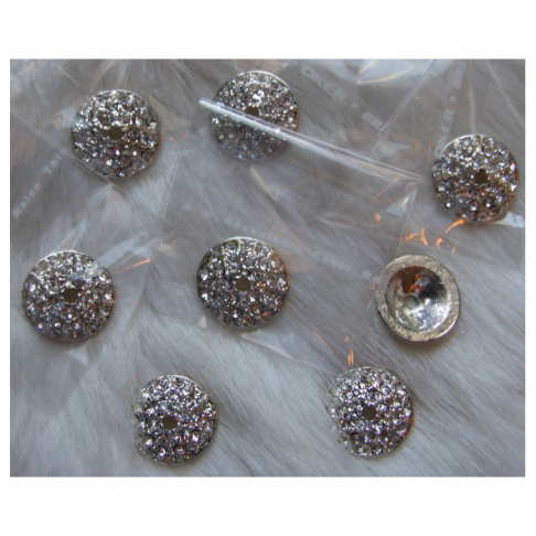 SID-DK1092  Kepurėlė-detalė su kristalo akutėm, 16mm