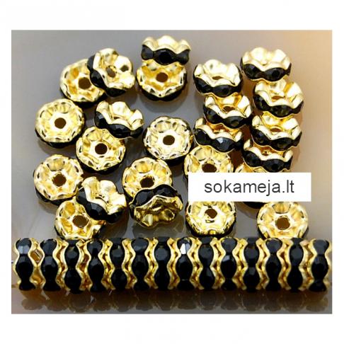 AUK-TP7M  Intarpas , apvalus, 7mm, su kristalo akutėm, JUODAS