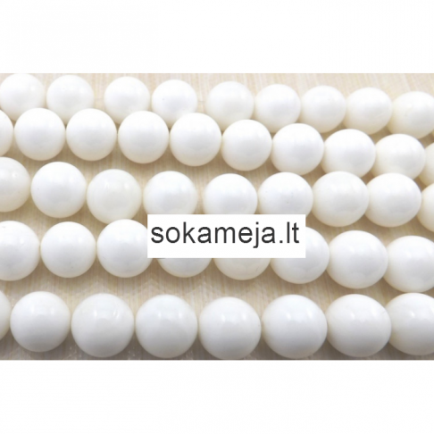 K-KS300  Karoliukas , koralas, lakuoto efekto, 12mm, BALTAS