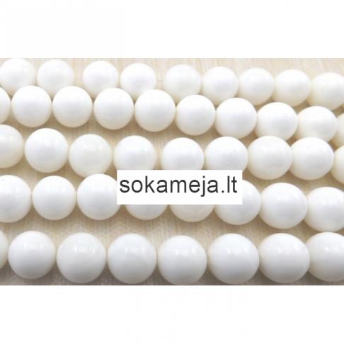 K-KS301  Karoliukas , koralas, lakuoto efekto, 12mm, BALTAS, 16 vnt.