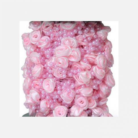 GRA-A12  Perliukų ir gėlyčių girlianda, 85cm, ROŽINĖ