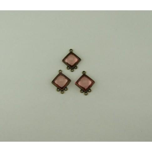 ZP-202540 Paskirstytojas žalvario sp. su rožiniu akriliniu kabošonu, kaina už porą.