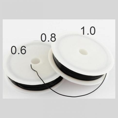 E-S69  Elastinis siūlas, 0.6mm, už ruloną apie 15m  JUODA