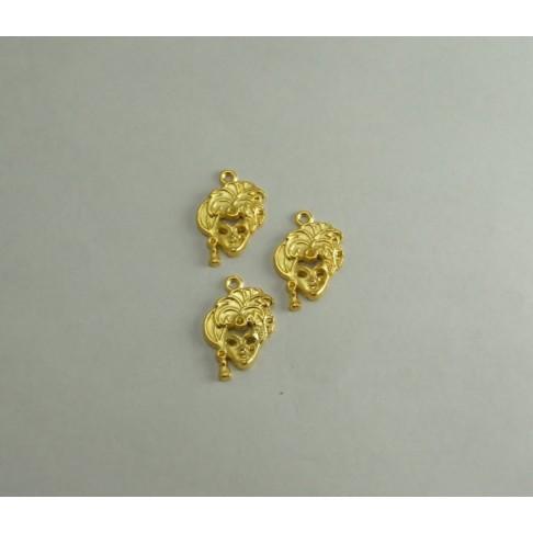AUK-61114 Pakabukas aukso sp. Dama, 25x20mm, klijuo.,akutės ,viena apie 3mm-kitos apie 2, 2.5mm