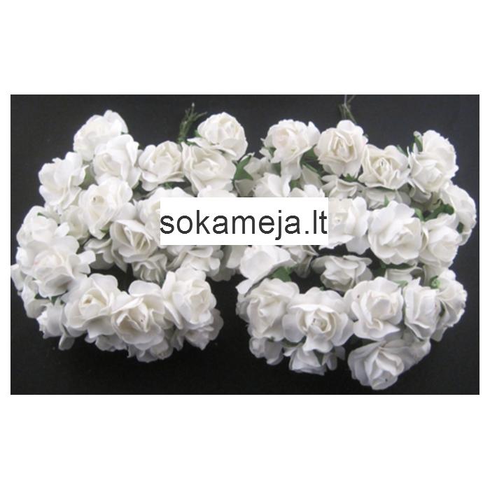 MR-R12S Mulberry popierinės gėlytės, 1-1.5 cm, 12 vnt.,  BALTOS