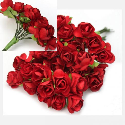 MR-R11S Mulberry popierinės gėlytės, 1-1.5 cm, 12 vnt., RAUDONA