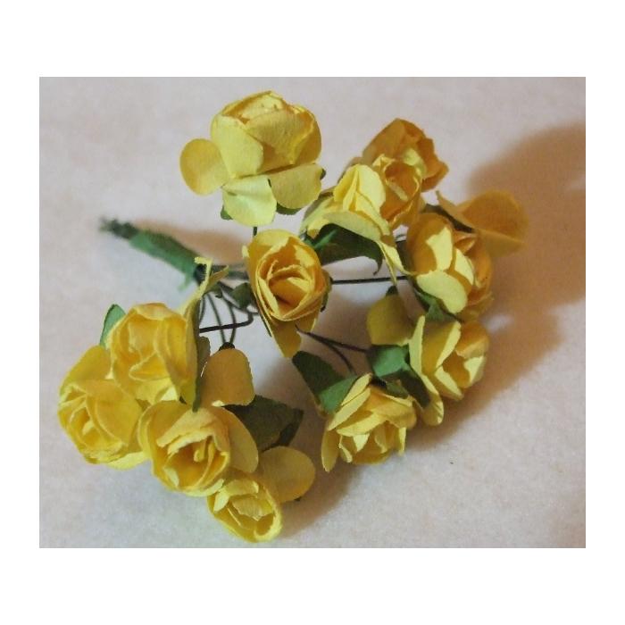 MR-R10S Mulberry popierinės gėlytės, 1-1.5 cm, 12 vnt., GELTONA