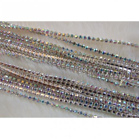 SID-20822 Grandinėlė iš skaidrių AB kristalo akučių, SS6(2mm), kaina už 10cm (nesukarpyta)