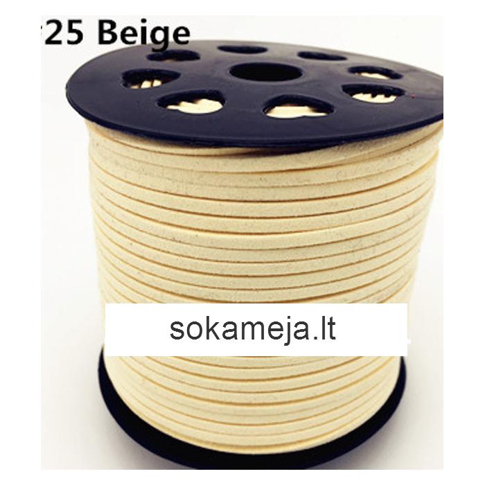 V-NR25 Juostelė-virvutė, 3x1.5mm, už 1m, (nekarpyta), KREMINĖ