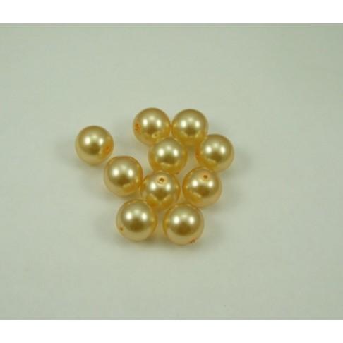 5-5552 Perliukas, 16mm, skaidriai aukso spalvos