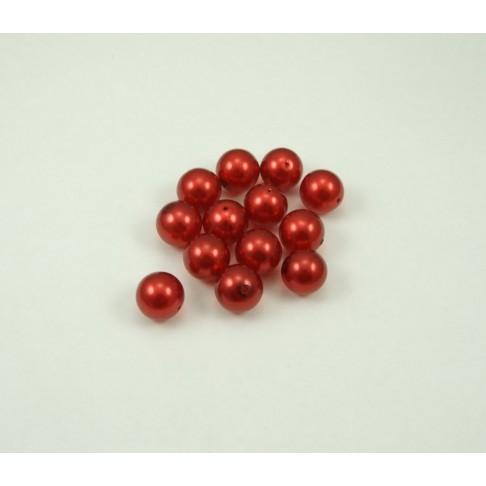 5-5536 Perliukas, 14mm,skaidriai raudonos sp.