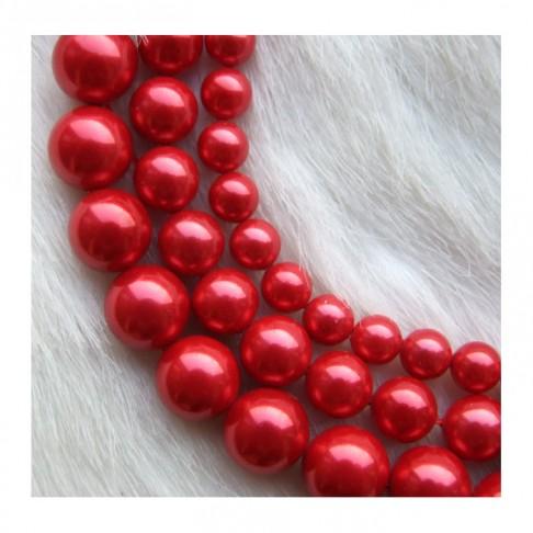 PERL-6951 Kriauklės perliukas, Raudona, 6mm
