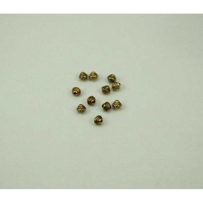 AUK-8242 Karoliukas, metalizuotas, sendinto aukso sp., 8mm