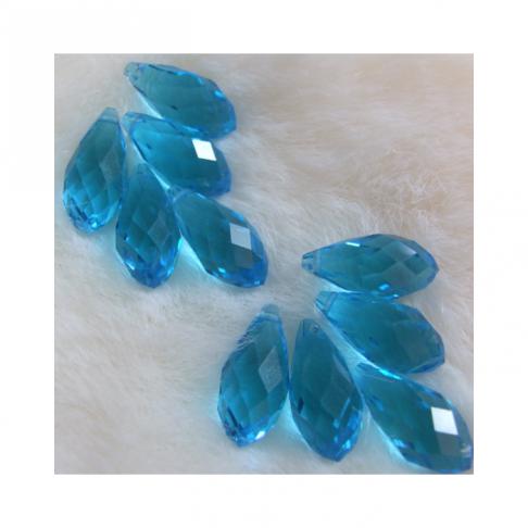 "KR-S3679 Kristalo karoliukas ""Lašelis"", 20x10mm,  AKVAMARINO sp."