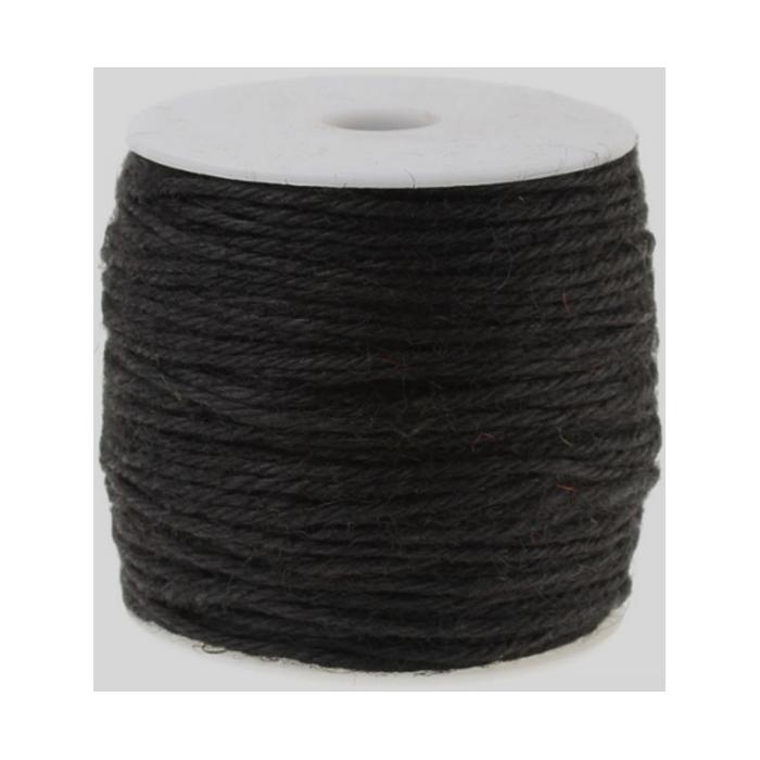 J-00542  Džiuto virvutė, 2mm, kaina už 1m(nekarpyta), JUODA
