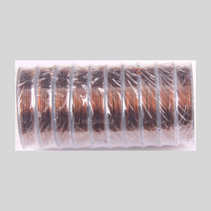 G-0079 Elastinis siūlas, 0.5mm, už ruloną apie 10m,  TAMSI RUDA sp.