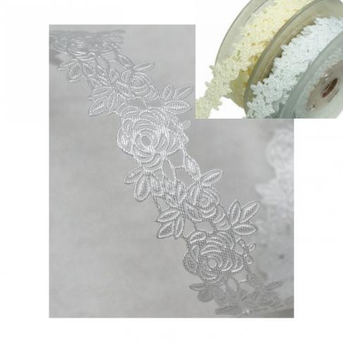 "N-AZ22 Nėrinukas ""Gėlytės"", 25mm,  BALTAS , už 50 cm(nekarpyta)"