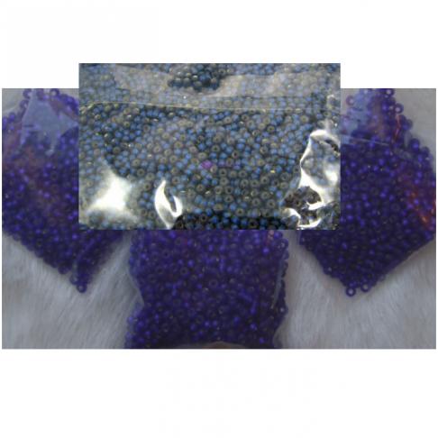 BIS-37100.10  Preciosia biseris, 2.3 mm, apie 10 gr., tamsiai mėlynai-violetinės  sp.
