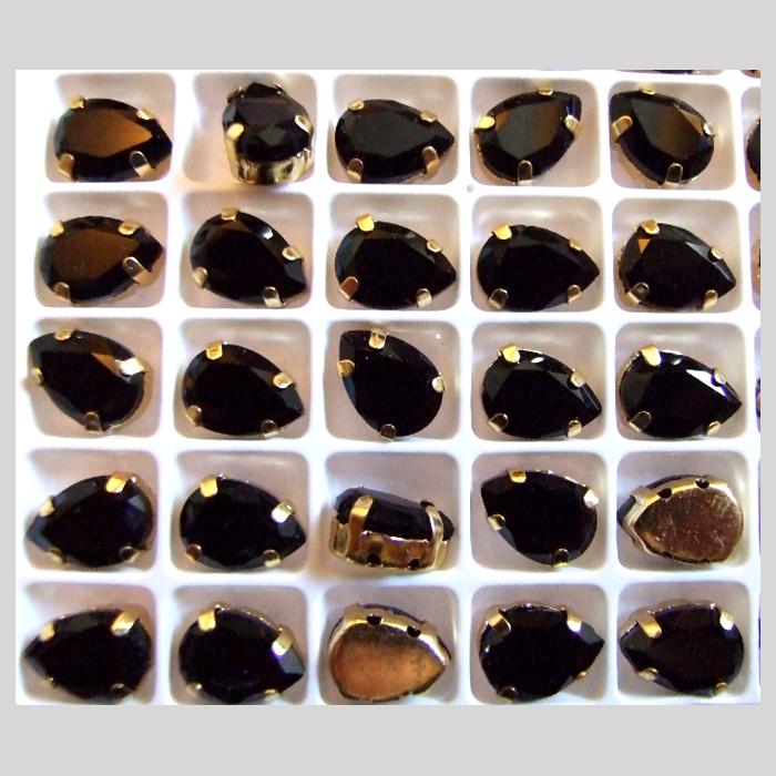 D-LS601 Intarpas-detalė, 10x7mm, lašelis, kristalo JUODA