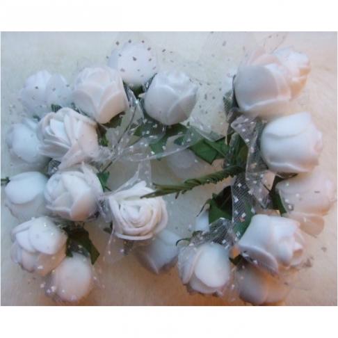 G-DK75  Dirbtinės gėlytės, apie 2cm,  12nt., BALTOS