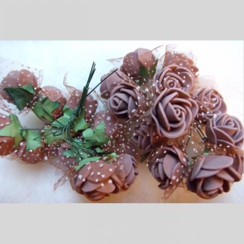 G-DK76 Dirbtinės gėlytės, apie 2cm,  12nt.,  RUDOS
