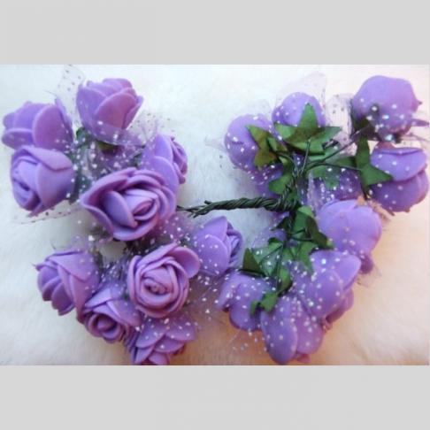 G-DK78  Dirbtinės gėlytės, apie 2cm,  12nt., ALYVINĖS