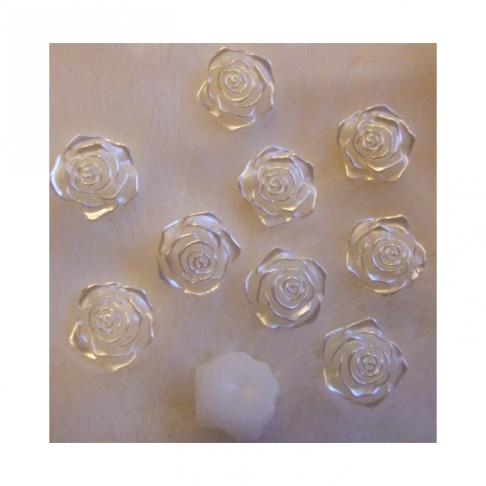 KAB-E88 Akrilinis kabošonas, rožytės formos, 18mm,  perlamutrinė-BALTA