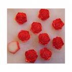 KAB-E87  Akrilinis kabošonas, rožytės formos, 18mm,  perlamutrinė-RAUDONA