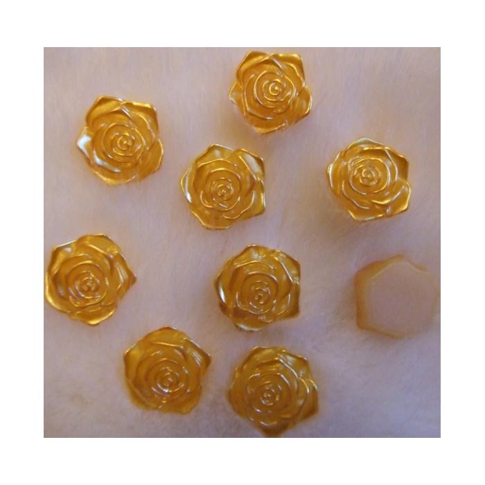 KAB-E89  Akrilinis kabošonas, rožytės formos, 18mm,  perlamutrinė-AUKSINĖ
