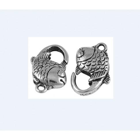 7-15621 Užsegimas žuvyte, send., sidabro sp. 18x12mm