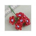 G-AK11 Gėlytės su akriline akute, 4.5 cm,  už 6 vnt., RAUDONOS