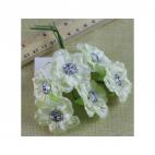 G-AK14 Gėlytės su akriline akute, 4.5 cm, už 6 vnt., KREMINĖS