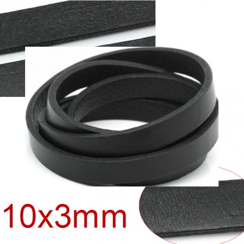 OD-NAT99   Natūralios odos juostelė, 10x3mm, už 10 cm (imant kelis -nekarpyta) JUODA