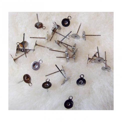 7-5934 Ruošinys auskarams su 6mm pokštele ir kilpute, nerūdyjančio plieno, už porą