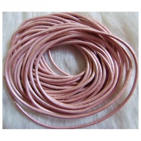 J-PR205  Odinė virvutė, 2mm, už 1.60m, (sukarpyta po 1.60m) , PERLAMUTRINĖ ROŽINĖ