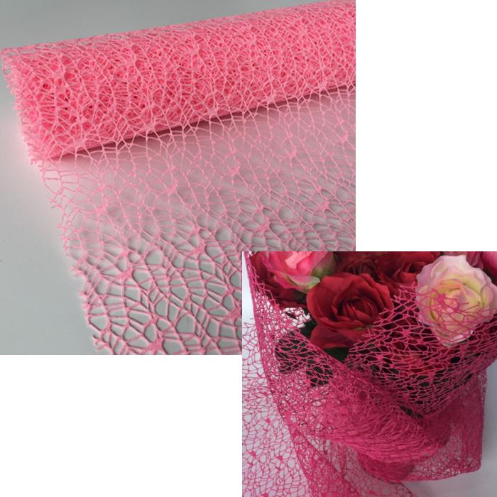 FE-P1122  Floristinis tinklelis puokštėm, 50x70 cm, ROŽINIS
