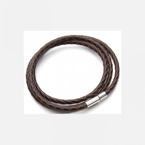V-NAT704 Nat., odos virvutė su užsegimu, apie 58 cm x 4 mm, T.RUDA