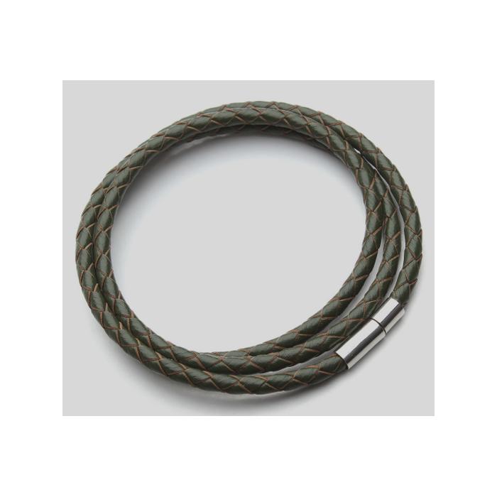 V-NAT705 Nat., odos virvutė su užsegimu, apie 58 cm x 4 mm, T. ŽALIA